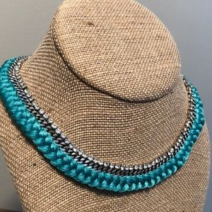Braided crystal collar necklace
